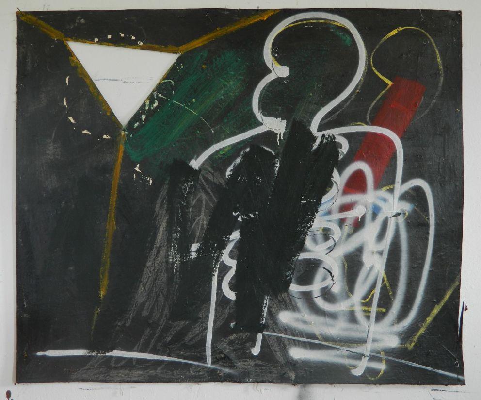 120x 100, oil,wax and spray on canvas